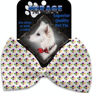 Mardi Gras Fleur De Lis Pet Bow Tie Collar Accessory with Velcro
